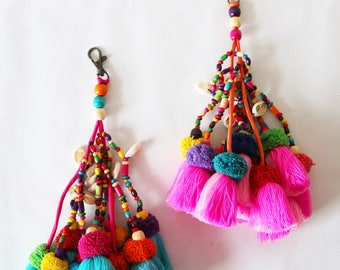 Large Tassel Charm - Pink Or Blue Large Tassel Bag Charm with Beads, Shells, Tassels and Pom Poms - Boho Chic