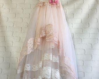 pale pink & soft white lace chiffon appliqued boho wedding dress by mermaid miss Kristin
