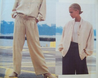Vogues Attitudes Pattern 2627 Carmelo Pomodoro Loose Fit, Lined Jacket and Straight Legged Pants Uncut Pattern Sizes 8, 10, 12