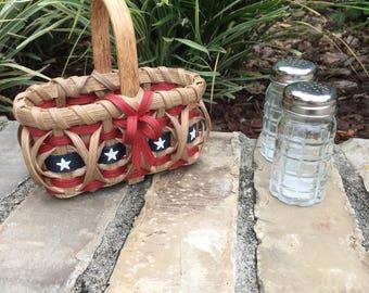 Americana Salt and Pepper Basket Flag Basket Old Glory July 4th Basket Kitchen Basket Handmade Basket Handwoven Basket Made in USA