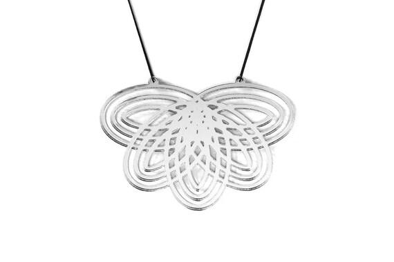 Necklace Mutation 07 - flower - silver mirror  - statement jewellery - contemporary jewelry - graphic designer accessory - lasercut acrylic