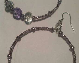 Dark Purple and White Beaded Hoop Earrings