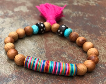 Sandalwood and African Vinyl Stretch Bracelet, Beaded Bracelet. Stretch Bracelets, Bohemian Jewelry, Summer 2017 Jewelry, tassel bracelet