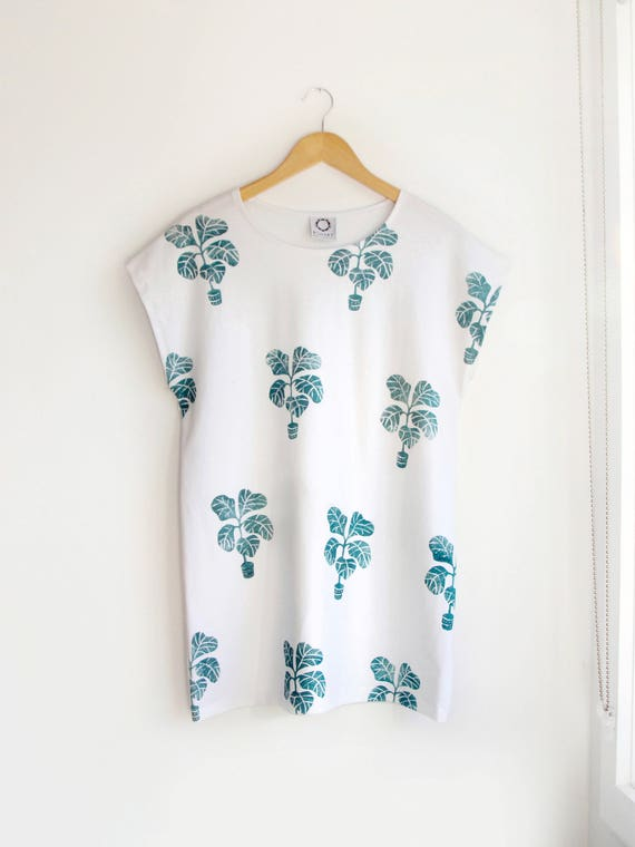 Fiddle Leaf Fig Oversized Tee in White Jersey