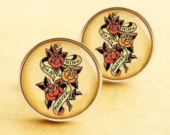 Personalised Wedding Cufflinks - Stainless Steel Tattoo Sailor Jerry Cuff Links Initials Love Vintage Rockabilly Silver Custom Groom