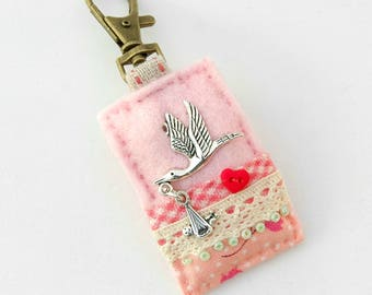 new baby bag charm, stork and baby, pink baby girl gift idea, midwife gift, gift for doula, mother and baby, ooak baby gifts, obstetrician