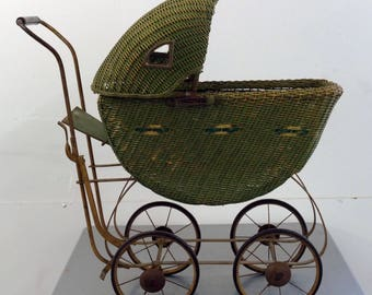 Vintage Green Wicker Baby Carriage With Parasol