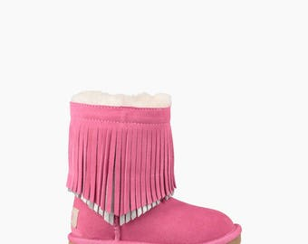 Custom Kids Youth Toddler UGG Boots Short Fringe Tassels w/ Swarovski Crystal Rhinestone Jewel Winter Bling Dynamite shoes Rhinestone Gift