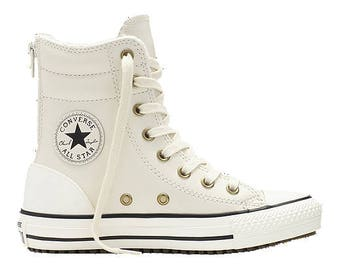 Girls Fur Converse Leather Boot Zipper Winter White Ivory Cream High Top Rise w/ Swarovski Crystal Rhinestone Chuck Taylor All Star Shoes