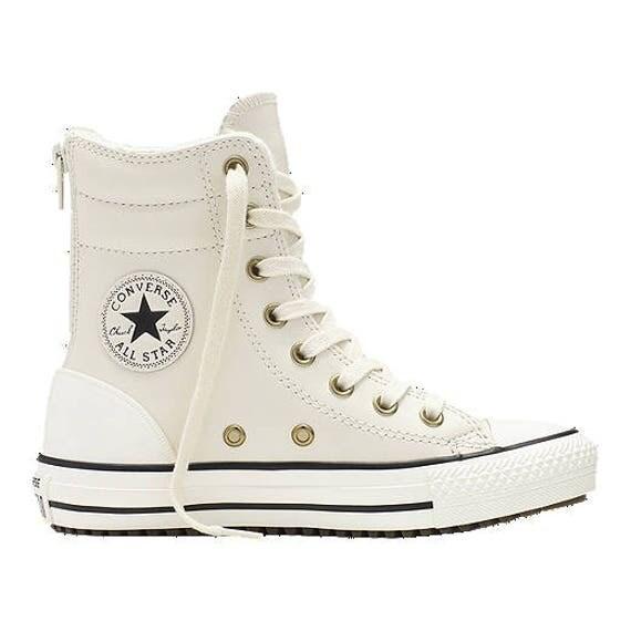 Girls Fur Converse Leather Boot Zipper Winter White Ivory Cream High Top Rise w/ Swarovski Crystal Rhinestone Chuck Taylor All Star Shoes