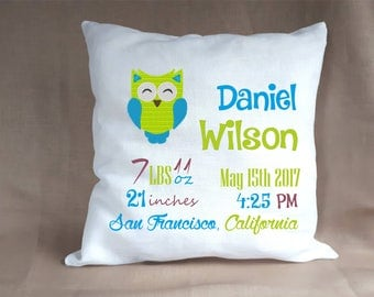 Birth Announcement Baby Boy Stats Pillow / Personalized Baby Nursery Newborn Linen Pillow Baby Gift with Owl