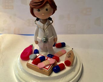 Polymer clay Doctor or Nurse cake topper,ornament,collectors item,handmade,Christmas gifts