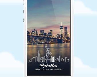 New York Snapchat Geofilter, New York Bachelorette Weekend Filter, New York Geofilter, New York Filter, Statue of Liberty, New York Birthday