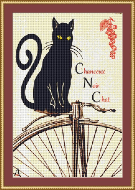 Chat Noir Cross Stitch Pattern /Digital PDF Files /Instant downloadable