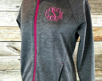 Women's Monogrammed Hooded Sweatshirt, Full Zip Hoodie, Monogrammed Hoodie, Personalized Sweatshirt, Monogram Sweatshirt, Zip Front