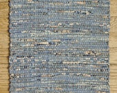 "Hand Woven Country Blue Patchwork Table Runner - 15"" x 38"""