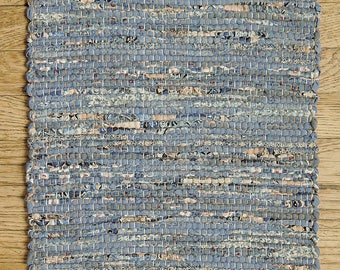 """Hand Woven Country Blue Patchwork Table Runner - 15"""" x 38"""""""