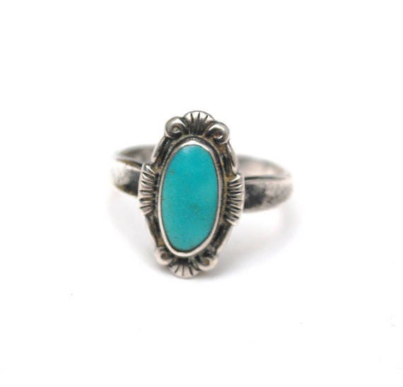 Turquoise ring Sterling - Bell Trading Company - size 6 - Native American tribal southwestern ring