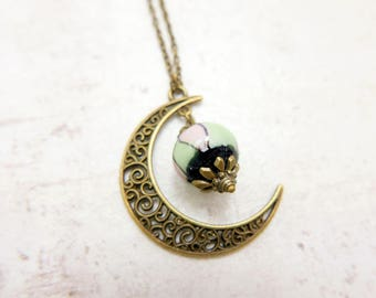 Crescent Moon Necklace Galaxy Charm vintage Necklace Jewelry Bronze Jewelry