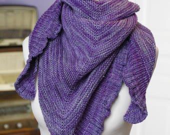ENVOI GRATUIT Grand châle mauve 100% laine  // lainage  hiver // Letitsnood