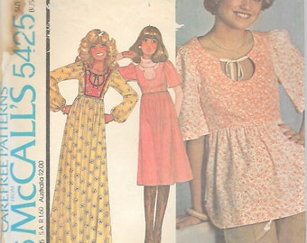 Vintage 1977 McCall's 5425 Retro Dress Or Top Sewing Pattern Size 8 Bust 31 1/2""