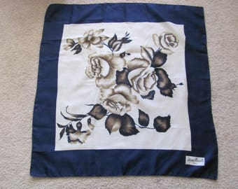 "Scarf Designer White Blue Retro Poly Scarf 27"" Inch 64cm Square - Affordable Scarves!!!"