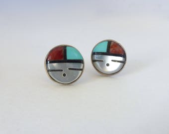 Vintage Native American Sterling Silver Zuni Sun Face Inlaid Stone Post Earrings