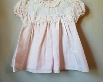 Vintage Girls Dress in Pink with White Eyelet Lace- Size 12 months - New, never worn