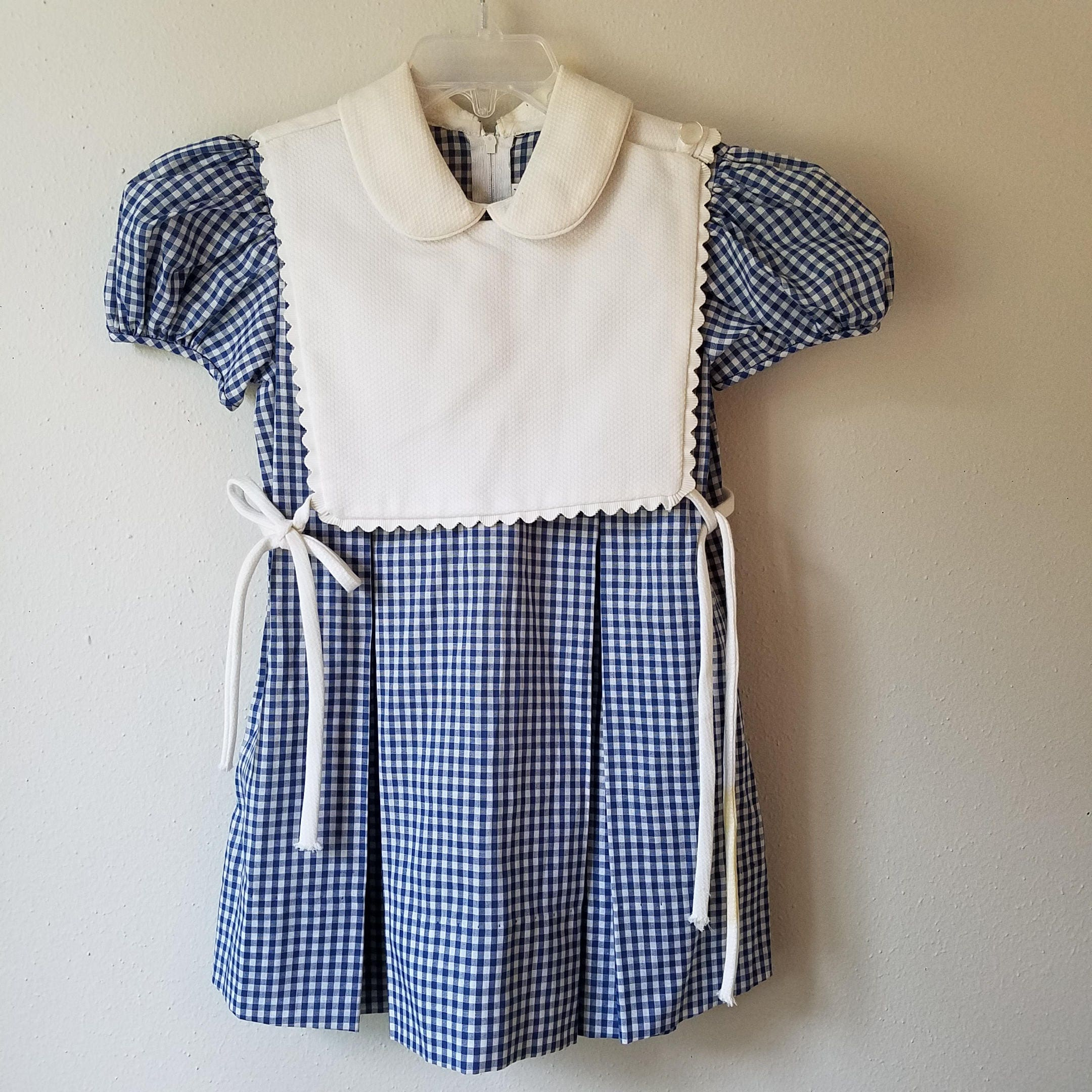 Vintage Girls Blue Gingham Check Dress with White Apron Pinafore Top by Jayne Copeland- Size & Vintage Girls Blue Gingham Check Dress with White Apron Pinafore Top ...