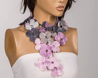 Crochet Flowers lariat scarf. Purple Lilac Pink flowers neck wrap. Crochet necklace. Women lariat necklace..