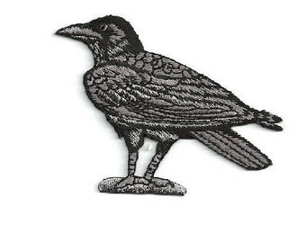 Raven - Crow - Bird - Corvus - Embroidered Black/Gray Iron On Patch - L