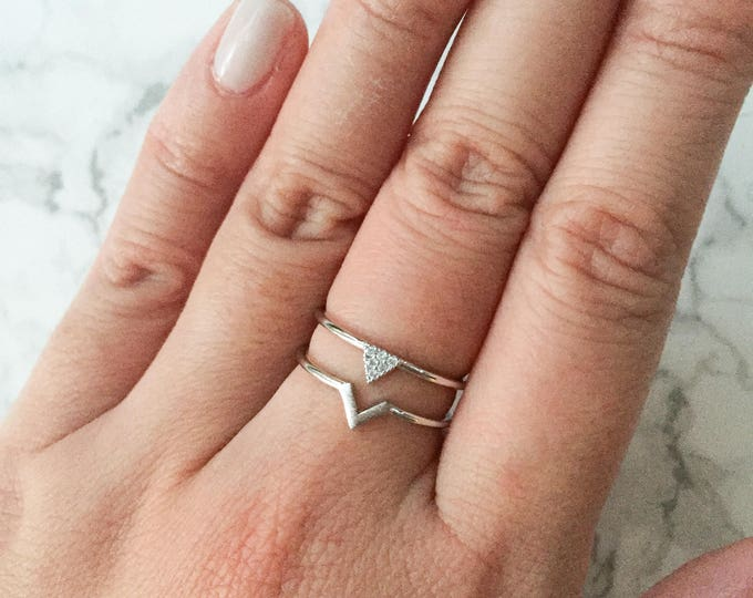 Adjustable Silver Double Chevron Ring