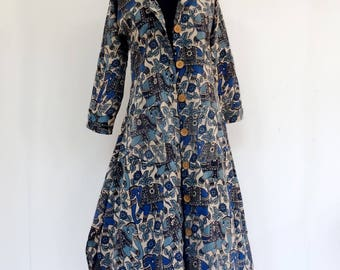 Coat / women's tunic blue and black with sleeves long patterns traditional elephant