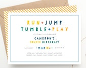 Run Jump Tumble Play Kids Party Birthday Invitation, Gymnastics Party Invite, Bounce House Jump Park, Boys or Girls Invite, Twin Birthday