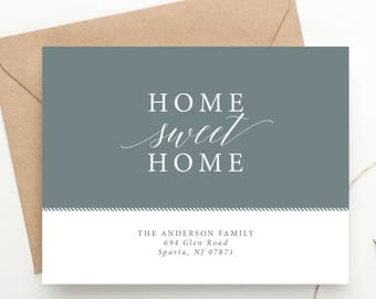 Home Sweet Home Moving Announcement, We've Moved Address Cards, New Home, Newlyweds Moving Postcard, First Home, Housewarming, Printable DIY