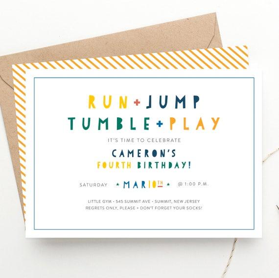 Run jump tumble play kids party birthday invitation gymnastics il570xn stopboris Image collections