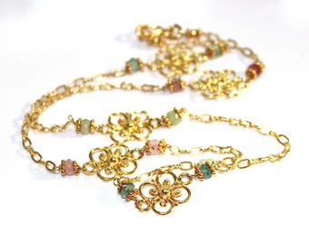 As Seen On The Big Sick Yellow Gold Flower Necklace Rainbow Tourmaline Necklace Flower Jewelry Delicate Necklace FizzCandy