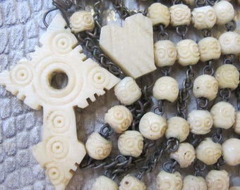 Stanhope-Style Carved Ox Bone Rosary Beads. Christian Vintage Prayer Beads. Catholic Faith:Blessed Mother Devotional Hail Mary Full of Grace