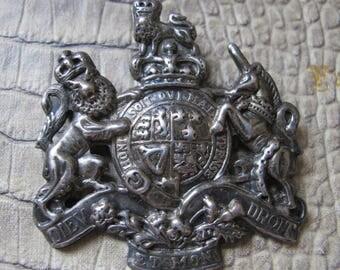 DIEU et MON DROIT Royal Coat of Arms Sterling Silver Brooch. Vintage Age.United Kingdom Motto, Seal, Ancestral Coat of Arms. British Patriot