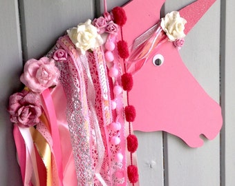 Magical Unicorn Wall Hanging Plaque Decoration Pink