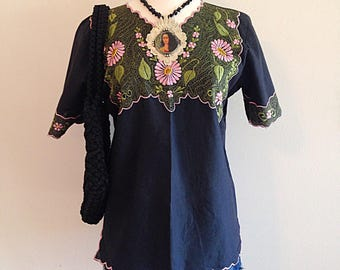 Vintage Embroidered Black and Pink Mexican Blouse