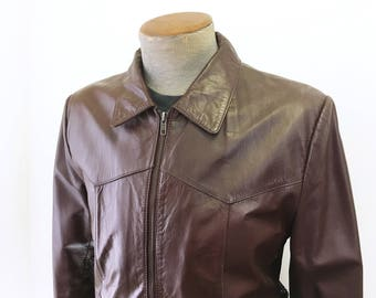 1980s Men's Western Leather Jacket Vintage Brown Leather Motorcycle Jacket / Coat Leathers by Jeffery - Size 40 (MEDIUM)