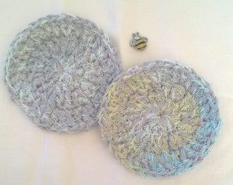 Washable Cotton Dish Scrubbers - Scrubbing Dish Cloths - Set of 2 Pot Scrubbers -  Housewarming Present - Hostess Gift - Kitchen Decor