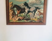 Vintage Paint By Numbers Horses Western Horse Print  Craftint King Size Paint By Number Two Horses