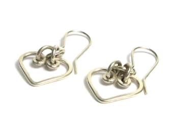 Sterling Silver Heart Earrings Pierced - Delicate Dangle Heart Earrings - Valentines - Love # 1542