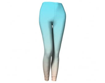 Pastel Leggings - FREE SHIPPING to USA ombre pink and blue yoga pants printed tights girly workout women exercise crossfit wod spandex