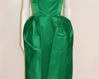 Vintage 1950s Emerald Green Satin Mad Men Evening Dress