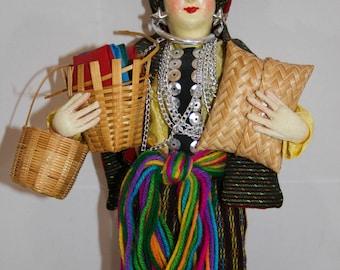 Vintage Cloth Gypsy Doll, Vintage International Doll, Vintage Eastern European Doll