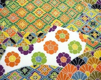 Rare Yuzen Geometric Floral Vintage Japanese Tango chirimen silk kimono fabric