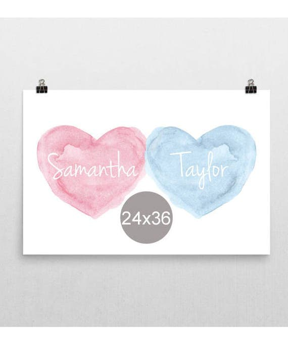 Sister Brother Print, 24x36, Personalized